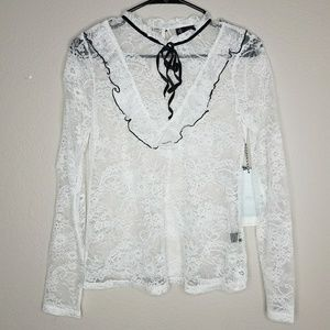 Iris Lovely White Lace Blouse Black Velvet Tie XS